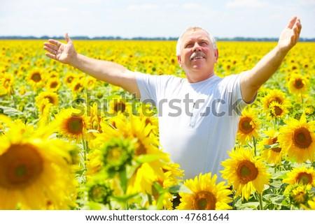 Smiling happy senior elderly man  outdoor - stock photo