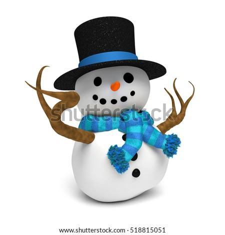 smiling happy snowman with glittery hat and a blue striped scarf  (3D illustration isolated on a white background)
