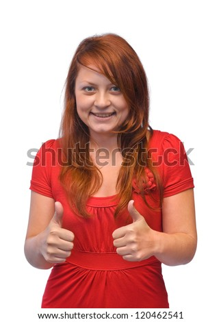 Smiling happy woman isolated on white background - stock photo
