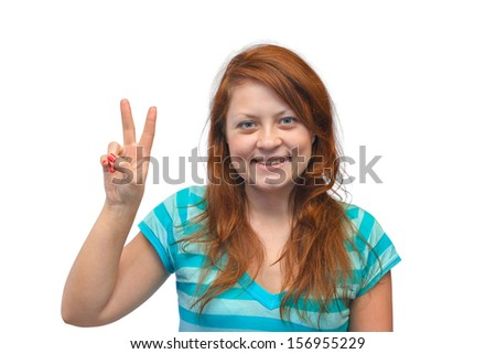 Smiling happy woman isolated on white background
