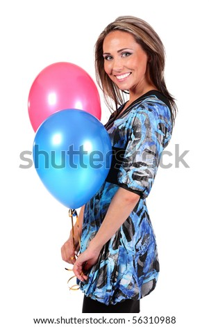 smiling happy woman with red and blue balloons - stock photo