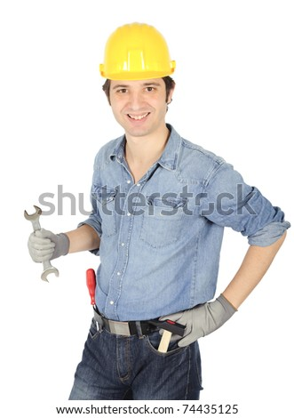 smiling happy worker - stock photo