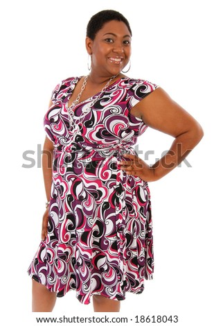 Smiling Happy Young African American Woman Standing Portrait on White - stock photo