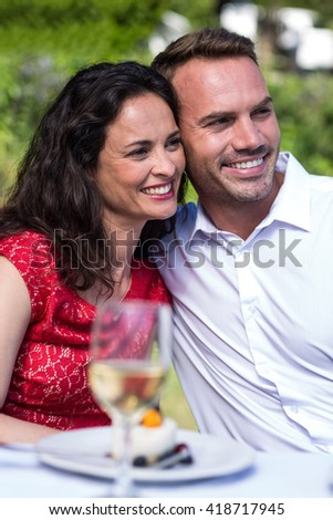Smiling happy young couple looking away while sitting in lawn - stock photo