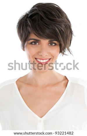 Smiling happy young woman isolated on white background - stock photo