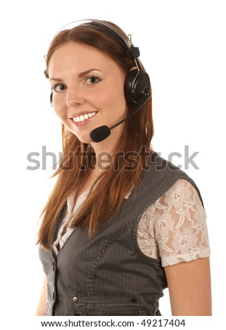 Smiling hotline operator on white background - stock photo