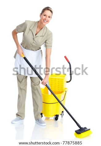 Smiling housewife cleaner. Isolated over white background - stock photo