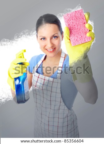 Smiling housewife cleaner woman  washing a window - stock photo