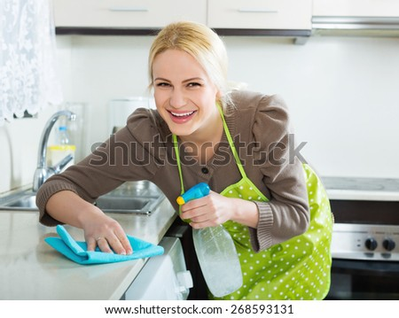 Smiling housewife cleaning furniture in kitchen - stock photo