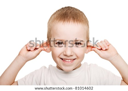 Smiling human child hand listening - stock photo