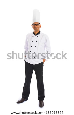 smiling indian male chef isolated on white background - stock photo