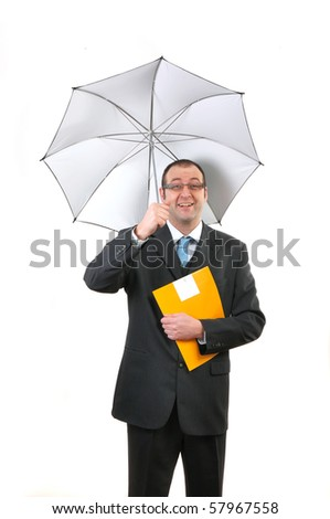 Smiling insurance agent with umbrella holding a yellow folder