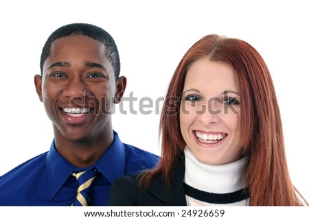 Smiling interracial couple over white background. - stock photo