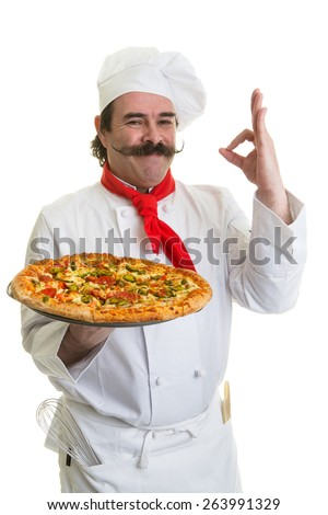 Smiling Italian chef with a pizza in hand - stock photo