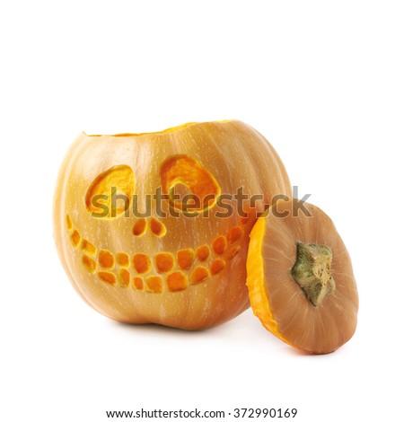 Smiling Jack-O-Lantern pumpkin isolated - stock photo