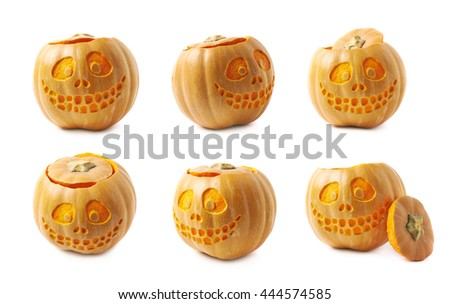 Smiling Jack-O-Lantern pumpkin isolated over the white background, set of six different foreshortenings - stock photo