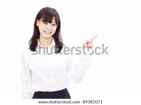 Smiling japanese business woman rise hand and pointing copy space