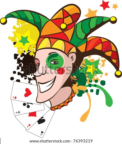 Smiling joker with cards and stars vector illustration - stock photo