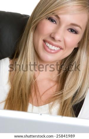 Smiling Laptop Woman - stock photo