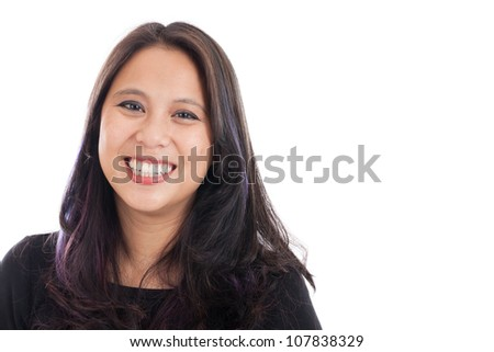Smiling late 30s Asian woman isolated on white
