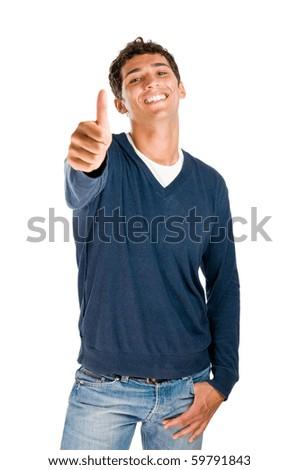 Smiling latin teenager showing thumb up isolated on white background - stock photo