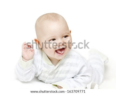 Smiling little baby on white