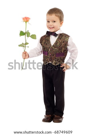 Smiling little boy gives a rose, isolated on white - stock photo