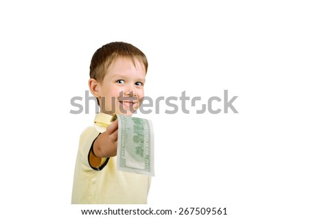 smiling little boy giving money bill 100 us dollars isolated on the white background horizontal - stock photo