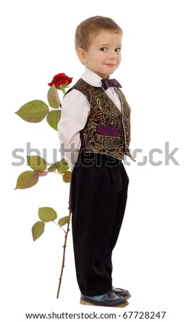 Smiling little boy hides a rose, isolated on white - stock photo