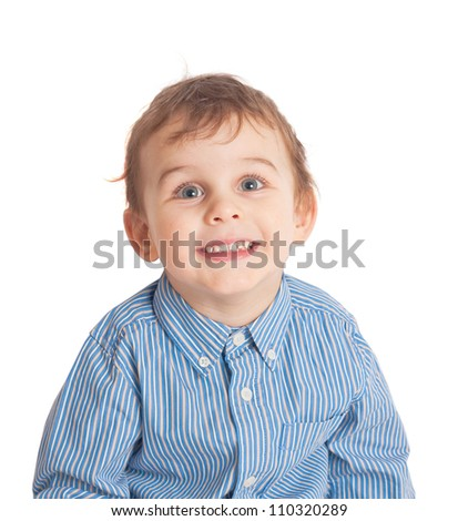 Smiling little boy. Isolated on white background. Clipping paths included. - stock photo