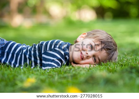 Smiling little boy lying on the grass in the park, springtime - stock photo