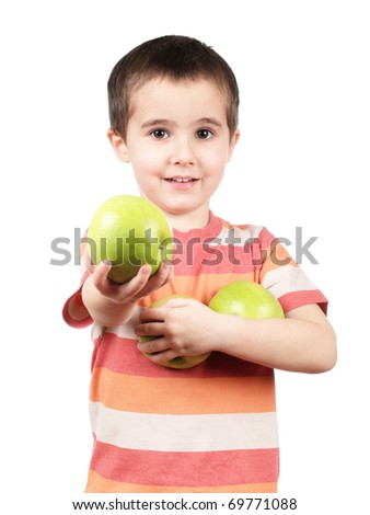 Smiling little boy offers apple isolated on white - stock photo