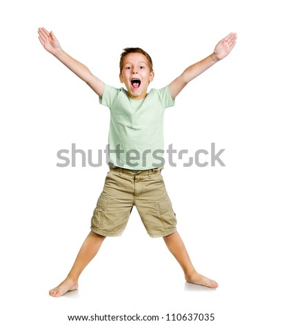smiling little boy over white background - stock photo