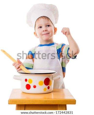 Smiling little cook with ladle and pan, isolated on white - stock photo