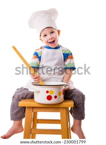 Smiling little cook with ladle and pan, sitting on the stool, isolated on white - stock photo