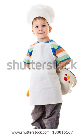 Smiling little cook with pan behind, isolated on white - stock photo