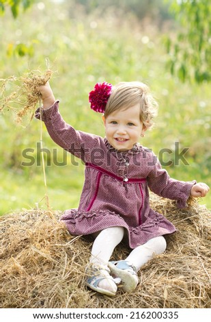 Smiling little country girl on haystack  - stock photo