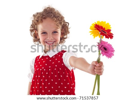 Smiling little girl giving flowers for mother's day, isolated - stock photo