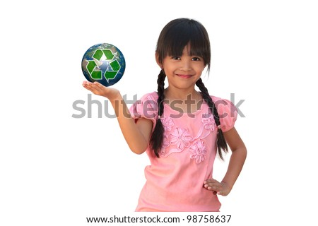 Smiling little girl holding earth with recycle symbol, Isolated on white, Elements of this image furnished by NASA