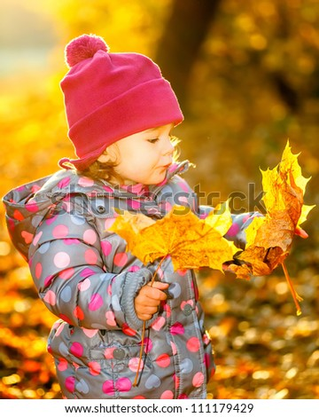 Smiling little girl in the autumn park