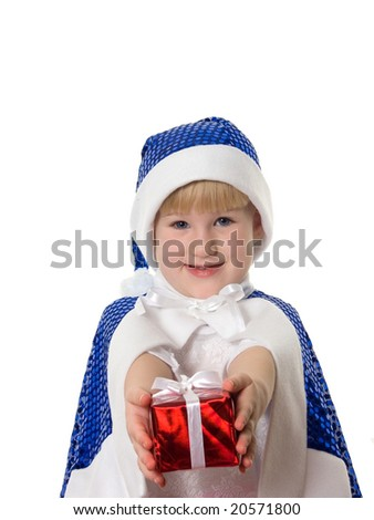smiling little girl is making a present