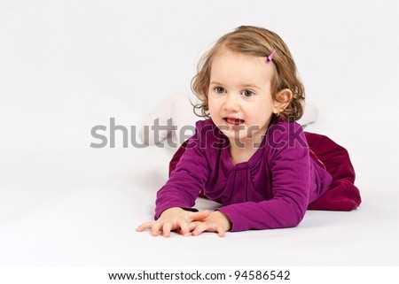 Smiling little girl, isolated on the white background