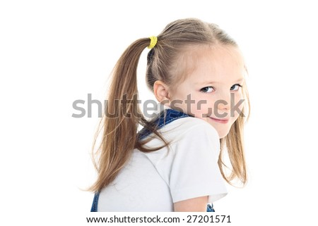 Smiling little girl with ponytails wearing white t-shirt - stock photo