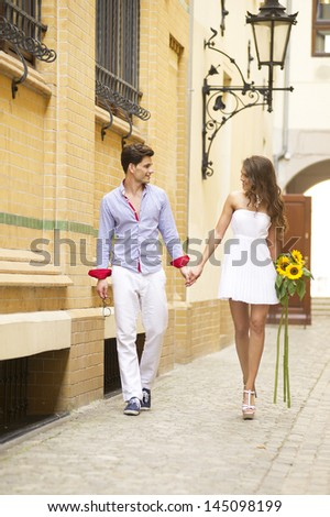 Smiling lovely couple  - stock photo