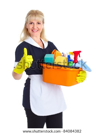 Smiling maid woman. Isolated over white background - stock photo