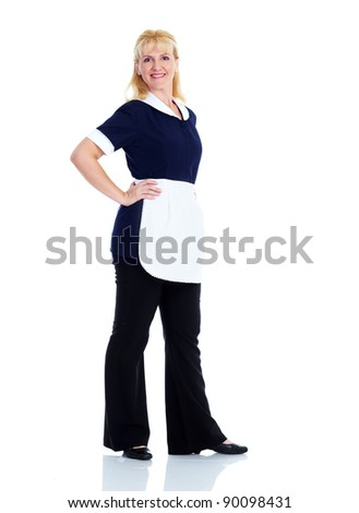 Smiling maid woman. Isolated over white background. - stock photo