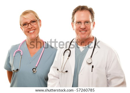 Smiling Male and Female Doctors or Nurses Isolated on a White Background.