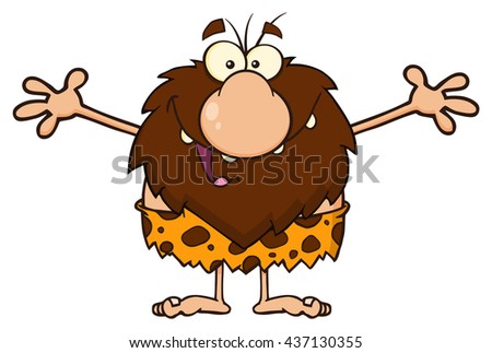 Smiling Male Caveman Cartoon Mascot Character With Open Arms For A Hug.  Raster Illustration Isolated On White Background - stock photo