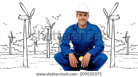 Smiling male contractor posing against graphic background - stock photo
