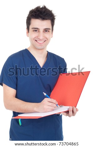 smiling male doctor making a note isolated on white background